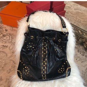 Sabina New York Black Leather studded hobo bag